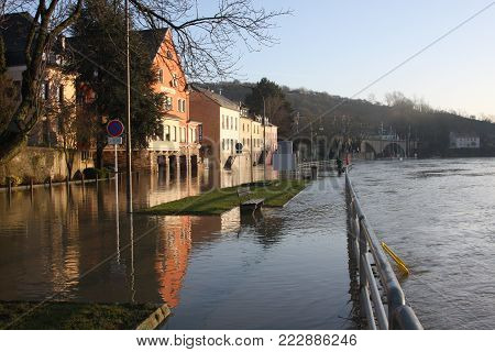 The Moselle river flooding the town of Wasserbillig, Luxembourg, January 2018