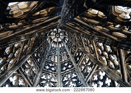 COLOGNE, GERMANY - JUNE 27, 2010: indoor of spire of Cologne Cathedral. The Cathedral is Germany's most visited landmark, attracting an average of 20000 people a day