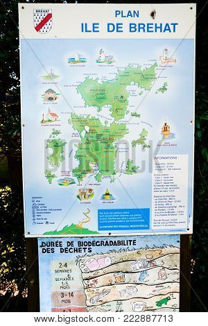 ILE-DE-BREHAT, FRANCE - JULY 4, 2010: outdoor map of Brehat island. Ile-de-Brehat is island and commune located near Paimpol town, a mile from the northern coast of Brittany