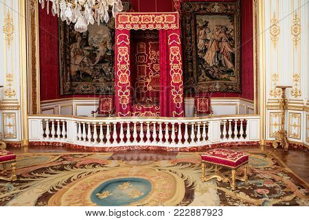 CHAMBORD, FRANCE - JULY 7, 2010: Louis XIV ceremonial bedroom in castle Chateau de Chambord. Chambord is the largest chateau in the Loire Valley, it was built as a hunting palace in 1519-1547