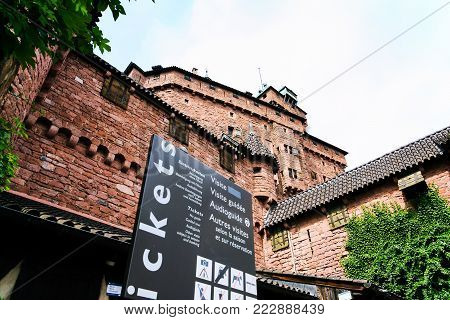 ORSCHWILLER, FRANCE - JULY 11, 2010: ticket office in castle Chateau du Haut-Koenigsbourg in Alsace. First time the castle was mentioned in 1147, the building was restored and rebuilt in 1900-1908