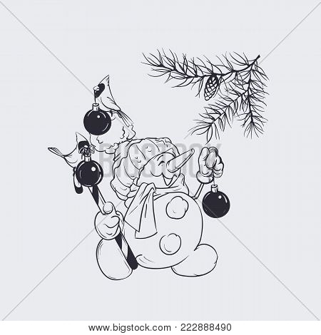 Character Of Snowman Holding Candy Cane Decorating  Pine Brunch, Cardinal Bird Are Holding In Its Be