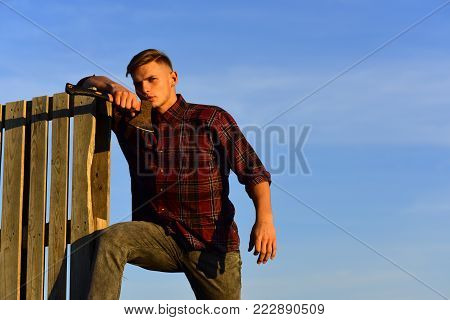 Man Thinking In Sunrise, Fashion