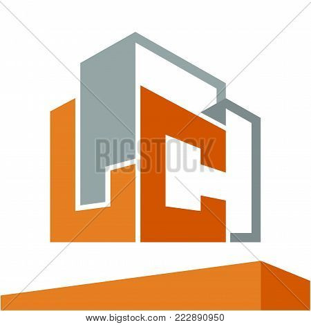 Icon logo initial for business development of construction services, with combination of letters L & C