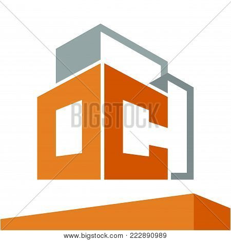 Icon logo initial for business development of construction services, with combination of letters O & C