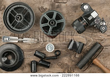 Nostalgia for the old not digital photos. Accessories for developing film and printing photos poster