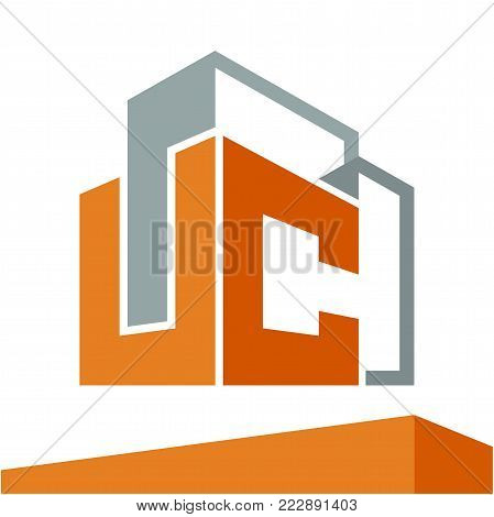 Icon logo initial for business development of construction services, with combination of letters U & C