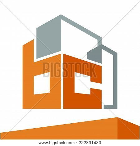 Icon logo initial for business development of construction services, with combination of letters B & C