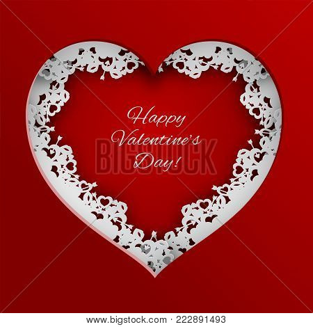 Red heart vector illustration laced with hearts, lips and cupid's arrow frame on red background for valentines day greeting card, paper cut out art style. Caption happy valentine's day
