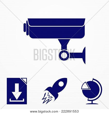 Camcorder, Single Icon In Monochrome Style. Camcorder, Vector Symbol Stock Illustration Web.