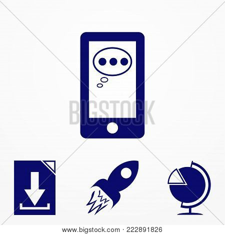 Smartphone In Blue Color. Stock Vector Illustration Eps10