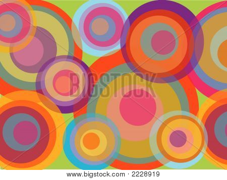 psychedelic pop rainbow circles (vector) - illustrated background poster