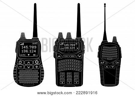 Radio transceivers. Set of black flat illustrations. Vector isolated on white background