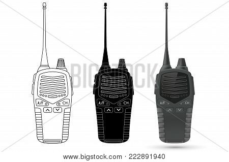 Radio transceiver with antenna. Vector 3d illustration, outline and black icons isolated on white background