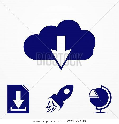 Download Now Icon. Upload From Cloud Symbol. Receive Data From A Remote Storage Sign.