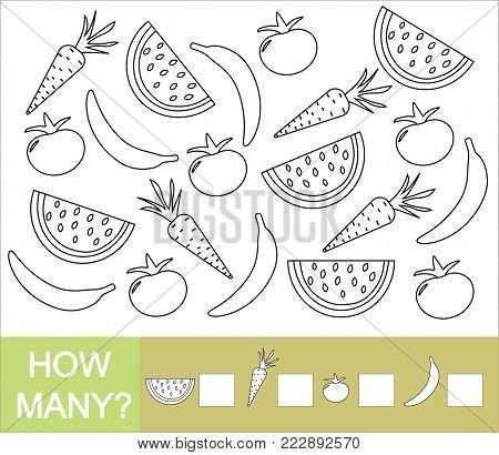 Count how many fruits, berries and vegetables (banana, watermelon, tomato, carrot). Paint objects. Learning numbers, mathematics. Mathematical game for preschool children