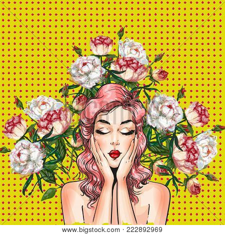 Vector illustration of beautiful young woman and peony flowers around her. Sexy pin-up girl in retro pop art comic style.
