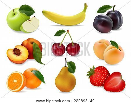 Icons set fruits and berries. Apple, pear, plum, peach, orange, apricot, cherry, strawberry, banana. In a realistic style. Vector illustration.