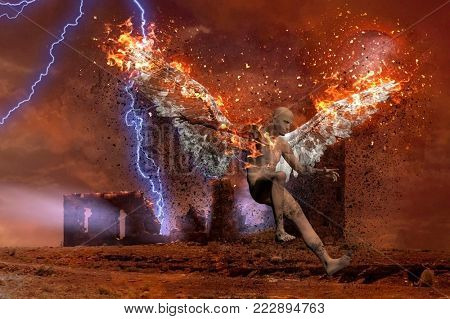 Surreal digital art. Lightning strikes spooky ruins. Naked man with burning wings symbolizes fallen angel. 3D rendering