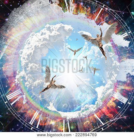 Vivid galaxy. Naked winged men represents angels. 3D rendering.
