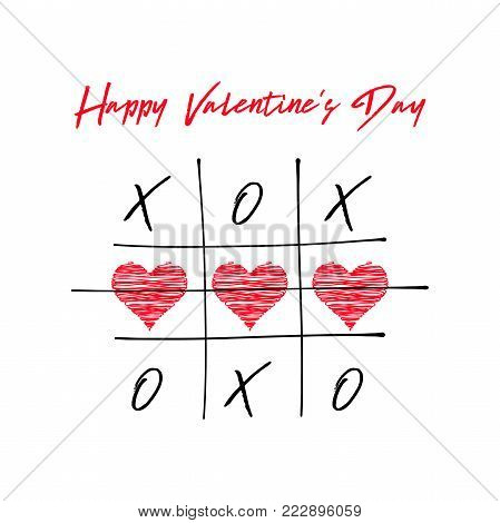 Tic Tac Toe Game With Criss Cross And Crossed Out Red Heart Sign Mark Xoxo. Hand Drawn Brush. Doodle