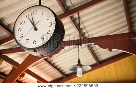 Close Up Of Vintage Death Clock Hang On The Vintage Zinc Roof At Vintage Train Station In Province O
