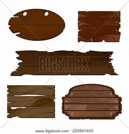 Empty Wooden boards in vector, perfect for various labels or text messages in rustic style. Old wooden texture is good for guide or signpost, can be used as a decoration or separate banner