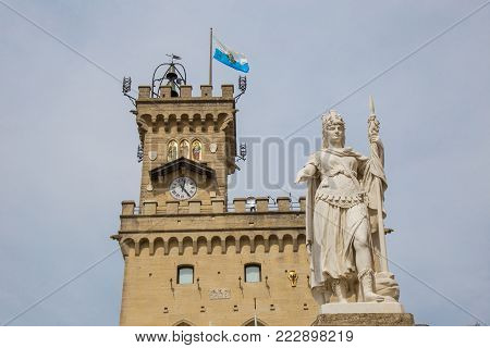 Public Palace and Statue. San Marino.Republic of San Marino.The San Marino public palace is also known as the Government Palace, and is the place where the official ceremonies and headquarters of the major institutions take place.