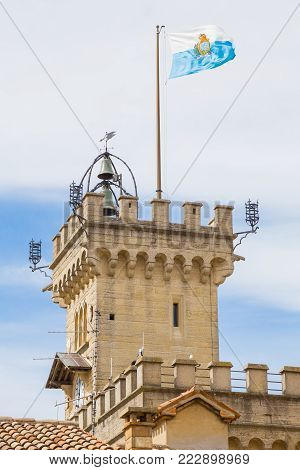 Tower of the Public Palace of San Marino.Republic of San Marino.The San Marino public palace is also known as the Government Palace, and is the place where the official ceremonies and headquarters of the major institutions take place.