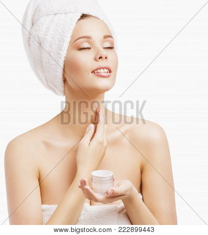 Woman Spa and Beauty, Young Model in Bath Towel Applying Skin Moisturizer, Women Body Moisturizing, Isolated on White Background