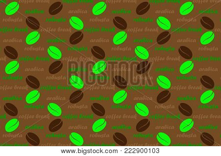 Coffee vector pattern - brown and green pattern with text, Coffee beans with  text arabica, robusta and coffee break