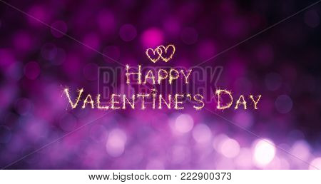 Beautiful greeting card Happy Valentine's Day. Sparkling golden text wishes on purple lilac festive background. Wide screen Holiday Web banner
