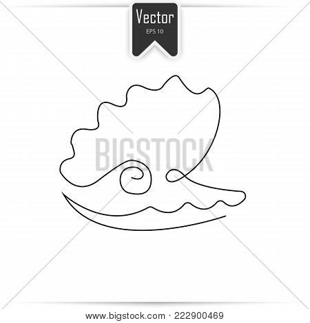 Pearl shell shell icon one line. Pearl shell icon in outline style isolated on white vector illustration