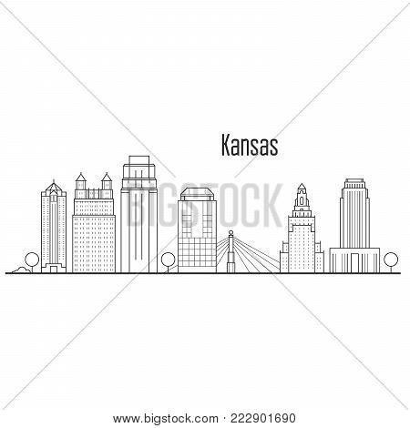 Kansas city skyline - downtown cityscape, city landmarks in liner style
