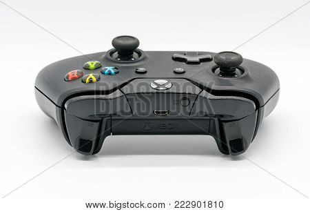 Bangkok, Thailand - Jan 18, 2018: Microsoft Xbox Controller, Game console by Microsoft. Illustrative, editorial.