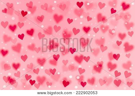 3D Pink and red heart shape and white dot on sweet pink wallpaper with copy space. Hand drawn illustration raster pattern love theme on Valentine's day concept use for product display and background. Abstract background for Valentine.