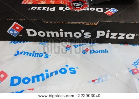 MOSCOW, RUSSIA - JANUARY 11, 2018: Domino's Pizza Delivery Box. Domino's is an American Pizza Restaurant Chain Founded in 1960. Operating in Over 80 Countries, One of the Most Famous Pizza Corporation