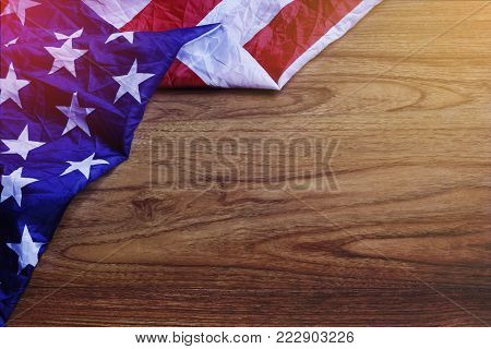 Usa Flag On Brown Wooden Board Scene