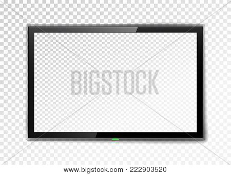 Realistic TV screen. Empty led monitor isolated on a transparent background. Vector illustration. Lcd monitor vector illustration. Lcd display screen, tv digital panel. LCD TV screen. 3D blank LED smart hdtv display. Frame TV screen .
