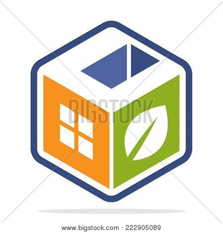 icon logo construction business with the concept of environmentally friendly homes and the initial of the letter C