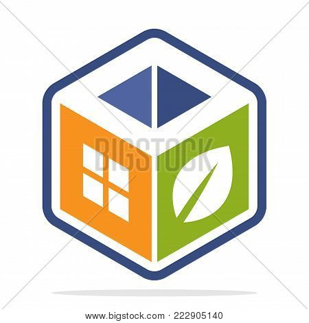 icon logo construction business with the concept of environmentally friendly homes and the initial of the letter O