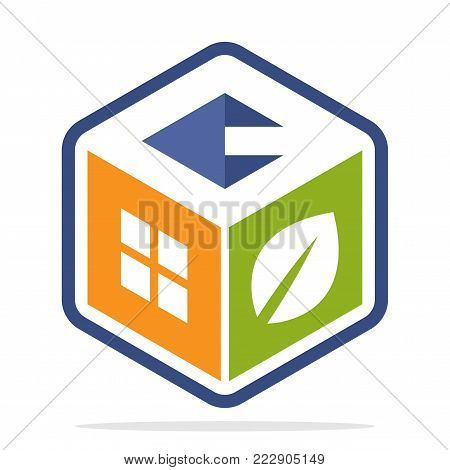icon logo construction business with the concept of environmentally friendly homes and the initial of the letter Q
