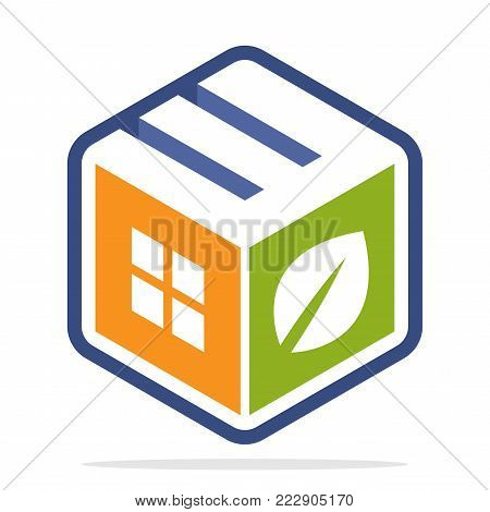 icon logo construction business with the concept of environmentally friendly homes and the initial of the letter W