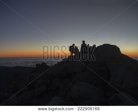 Red Glow Before Sunrise On The Top Of Pico Del Teide  Vulcano Highest Spanish Mountain With Silhoutt