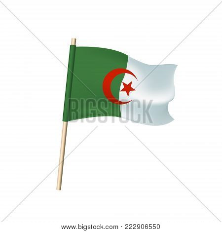 Algeria Flag. Red Crescent And Star On White And Green Background