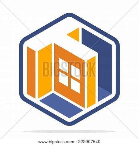 Icon logo for business development of construction services, in the hexagon shape with the initial of the letter T
