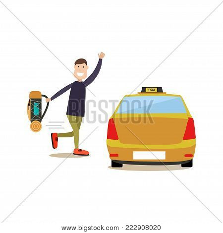 Vector illustration of man waving to hail taxi cab. Street people flat style design element, icon isolated on white background.