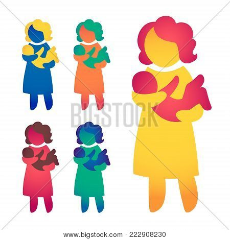 Happy Single Mom and Baby. Icon multicolored in simple figures. Symbol of single parenthood. Vector can be used as logotype.