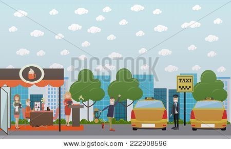 Vector set of city street concept design elements. Taxi stand with taxi cabs, driver and man waving, sidewalk cafe with personnel and visitor. Flat style design.