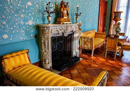ALUPKA, RUSSIA - MARCH 21, 2013: Beautiful interior of blue living room in Vorontsov Palace in the town of Alupka, Crimea. This palace is a tourist attraction of the Crimea.